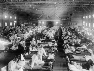 "Patients are treated at an Army ward in Kansas during the influenza epidemic of 1918. About 675,000 Americans died of the flu known as ""la grippe."""